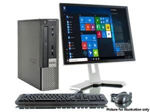 "i3 Dual Core DESKTOP PC SFF 19"" TFT Full Computer Setup 4GB 500GB HDD WINDOWS 10"