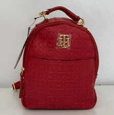 NEW! TOMMY HILFIGER RED LEATHER MINI TRAVEL BACKPACK BAG PURSE $79 SALE