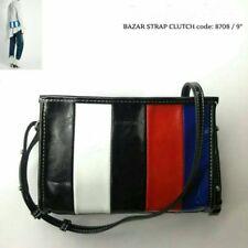 Fashion multi-color striped leather shopper tote crossbody shoulder bag size S-M