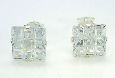STERLING SILVER CUBIC ZIRCONIA STUD EARRINGS CZ 7MM INVISIBLE SET 7MM CZ