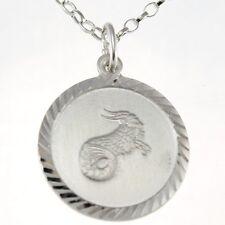"""Capricorn Silver Star Sign - The Sea Goat Zodiac Pendant with 18"""" Chain & Box"""