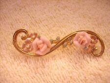 Pearls Gold Tone Brooch Pink Porcelain Flowers Faux