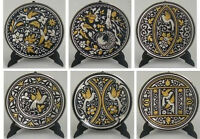 Damascene Gold/Silver Dove Design Round Decorative Mini Plate Midas Toledo Spain