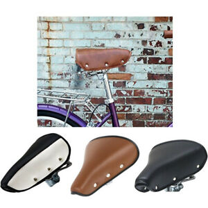 Vintage Retro Bicycle Bike Saddle PU Leather Cycling Seat Rivet Spring Cushion