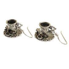 Alice in wonderland Tea cup earrings Sterling silver TEA TIME mad hatter party