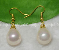 12x16mm Pink South Sea Shell Pearl Yellow Gold Plated Hook Dangle Earrings