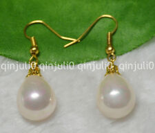 12x16mm Pink South Sea Shell Pearl Yellow Gold Plated Hook Earrings JE80