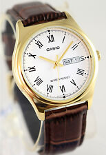 Casio MTP-V006GL-7B Mens Analog Gold Tone Watch Brown Leather Band Day Date New
