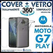 COVER TRASPARENTE + PELLICOLA VETRO TEMPERATO Per MOTOROLA MOTO G7 PLAY G 7 TPU
