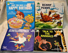 Lot X4 Children 45 RPM Henny Penny Rumpelstiltskin Talk to the Animals Birthday