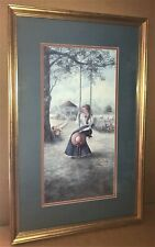 """Framed Vintage Signed Glynda Turley """"Girl On Swing"""" Limited Edition Lithograph"""