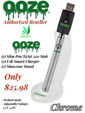 Ooze Slim Pen Twist 320 Mah Variable Voltage Usb Charger Showcase Stand Chrome