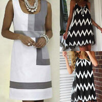 Women Summer Sleeveless Holiday Shift Geometric Print Party Mini Dress Fashion