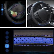 38CM Echtes Leder Fahrzeug Auto Lenkradbezug Schutz Schwarz + Blau Universal