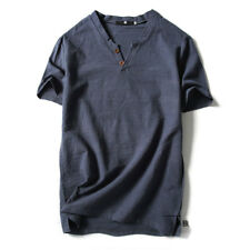 Men's T-Shirt Flax Linen Casual V-Neck Fit Short Sleeve Shirt Top Tee Breathable
