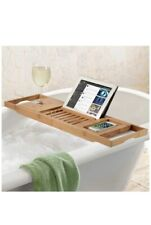 Bamboo Bathtub Tray Caddy - Wood Bath Tray Expandable with Book and Wine Holder