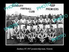 New listing OLD LARGE HISTORIC PHOTO OF SUNBURY FC 1957 FOOTBALL PREMIERSHIP TEAM
