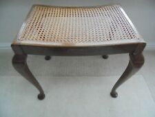 Vintage bergere cane seated dressing table stool, cabriole Queen Anne legs