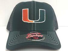 Miami Hurricanes Cap Zephyr Adjustable Snapback Staple Trucker Mesh Hat NCAA