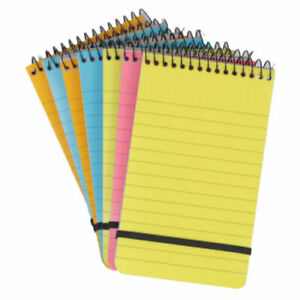 6 MINI Neon NOTE PADS Spiral Bound Elastic Strap A7 Plastic Cover Notebooks