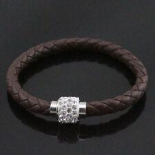 Leather Wrap Wristband Cuff Punk Magnetic Rhinestone Buckle Bracelet Bangle U007