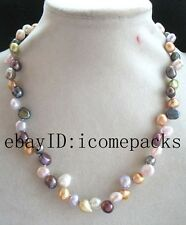 "unique! freshwater pearl multicolor baroque 6-9mm necklace 17"" wholesale beads"