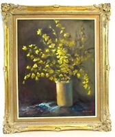 IMPRESSIONISM  STILL LIFE OIL PAINTING OF FLOWERS IN THE VASE , SIGNED