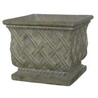 17.75 in. square old stone cast stone lattice planter