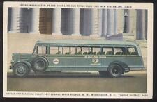 Postcard WASHINGTON DC  Gray/Royal Blue Line Tour Bus Promo Ad 1930's