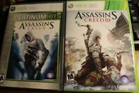 Bundle 2 games Assassin's Creed I & III XBOX 360 Complete Adult Owner