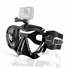 Snorkel Mask Frameless Diving Mask with Mount for Gopro, Anti-Fog Black
