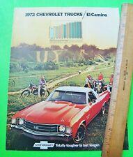 1972 CHEVROLET EL CAMINO COLOR BROCHURE w/ SS 454 SUPER SPORT Xlnt+