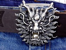 Gürtelschnalle Drachen Dragon Face Silver Asien Wechselschnalle für 4cm Buckle
