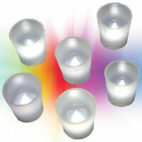 6pc Battery Operated Flickering WHITE LED Tealights Votive Tea Lights Flameless