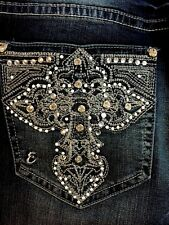Woman's EARL JEANS Size 16 Bling Stretch Rhinestone Cross Slim boot  NEW