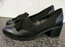 Ladies SIZE 7 smart black tasseled block heel loafers IMMACULATE (J275)