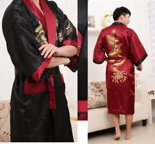 Oriental Men Bathrobe Kimono Embroidery Dragon Dressing Gown Ms. Bath Robe fce7f807c