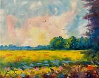 Sunny Meadows Landscape Oil Painting Impressionism Texture
