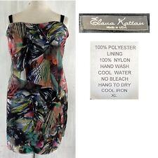 ELANA KATTAN Women's XL Exotic Floral Print Mesh Overlay Pullover Dress EUC