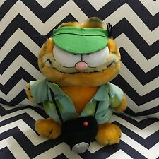 "#204  8"" Garfield Tourist Plush Toy Doll w/ Green Visor, Camera Dakin 1981"