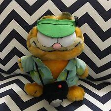 """#204  8"""" Garfield Tourist Plush Toy Doll w/ Green Visor, Camera Dakin 1981"""