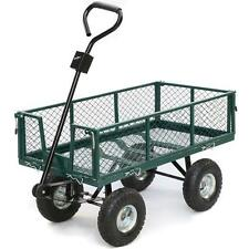Cart Yard Garden Utility Wagon Dump Lawn Heavy Duty Wheelbarrow Trailer Steel US