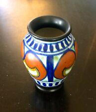 """1924 Simple Gouda Miniature 2 1/2""""  Vase - Matte Cobalt, Orange, Black, & Gold"""