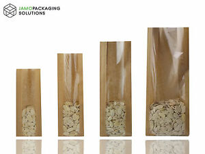 KRAFT BROWN PAPER BAGS WITH WINDOW, HEAT SEAL FOR CATERING,CAKES, FRUITS,PASTRY