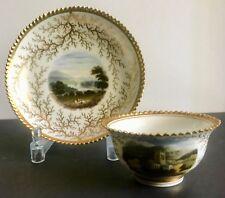 Rare Handpainted Flight Barr & Barr Worcester Miniature Cabinet Cup & Saucer