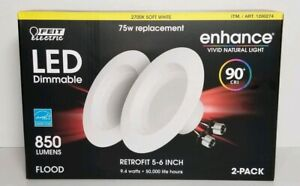 FEIT ELECTRIC RETROFIT 5-6 INCH LED DIMMABLE 1 PACK WITH 2 BULBS  ENERGY EFFICEN