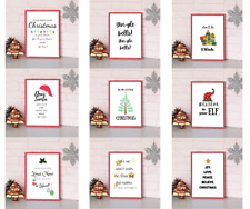 Xmas Design Modern Wall Art Prints Posters Home Christmas Decoration Theme A4