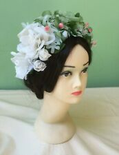 50s Vintage Hat. White Floral with Berries. Wedding. Goodwood