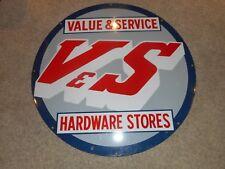 """Vintage 36"""" Round Porcelain V&S Value & Service HARDWARE Store Advertising SIGN"""
