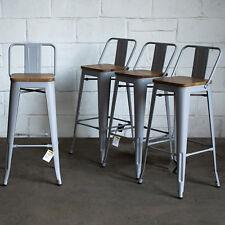 Set of 4 Pale Grey Metal Industrial Bar Stool Breakfast Kitchen Bistro Vintage